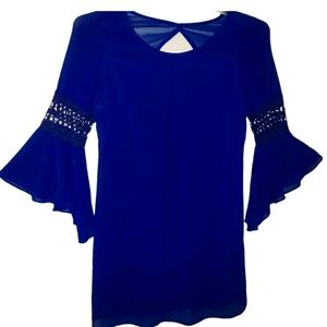 By & By Fashion Polyester Blue Business